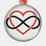 never ending love, red heart with infinity sign round metal christmas ornament