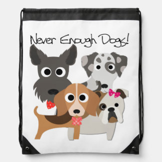 Never Enough Dogs Drawstring Bag