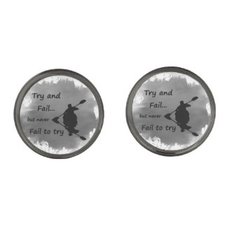 Never Fail to try Motivational Quote Kayak Sport Cufflinks