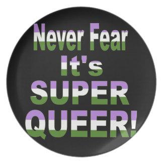 Never Fear it's Super Queer Transgender Melamine Plate