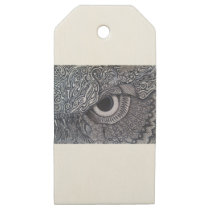 Never Finished Tribal owl Eye Wooden Gift Tags