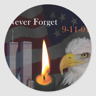 Never Forget 9-11-01 Classic Round Sticker