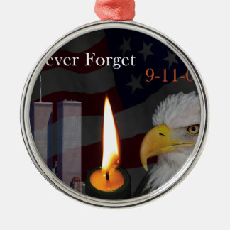 Never Forget 9-11-01 Metal Ornament