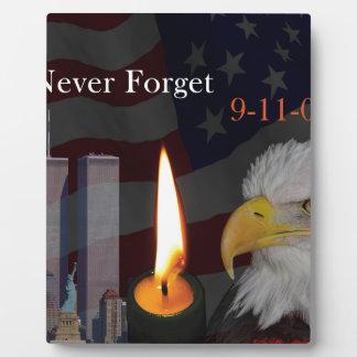 Never Forget 9-11-01 Plaque