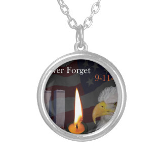 Never Forget 9-11-01 Silver Plated Necklace