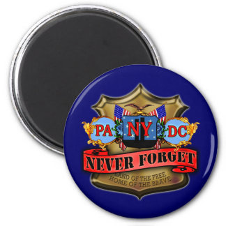 Never Forget 9/11 Badge Style Design 2 Inch Round Magnet