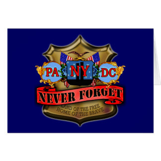 Never Forget 9/11 Badge Style Design Greeting Card