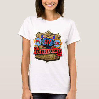 Never Forget 9/11 Badge Style Design T-Shirt