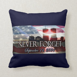 Never forget 9-11 Commemorative Pillow : Blue