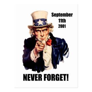 Never forget 9/11 postcard