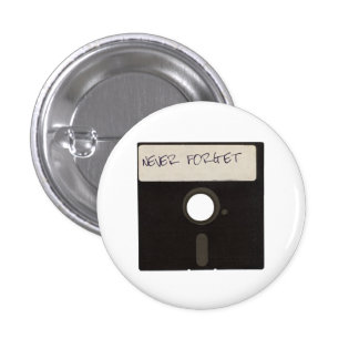 Never Forget Computer Floppy Disks Button