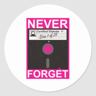 Never Forget Disk Classic Round Sticker