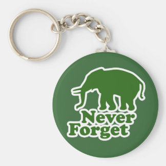 Never Forget Funny Satire Elephant Basic Round Button Keychain
