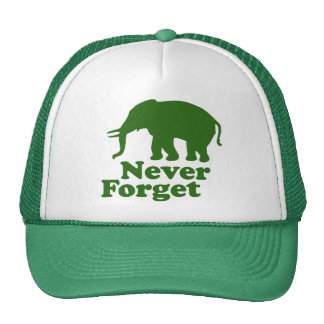 Never Forget Funny Satire Elephant Trucker Hats