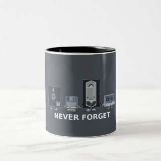 never forget old tech Two-Tone coffee mug