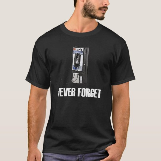 Never Forget Pay Phone Dark T-Shirt