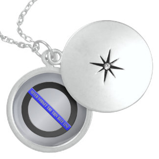 Never Forget the Thin Blue Line Round Locket Necklace