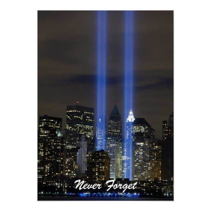 Never Forget Twin Towers Remembrance Day Poster   Zazzle