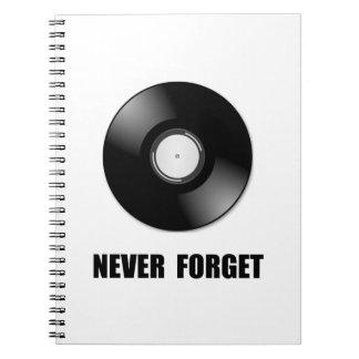 Never Forget Vinyl Spiral Notebooks
