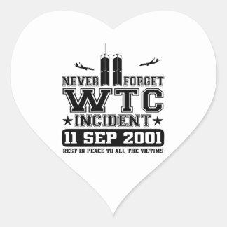 Never Forget World Trade Center 11 September 2001 Heart Sticker