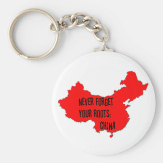 Never forget your roots: China Basic Round Button Keychain