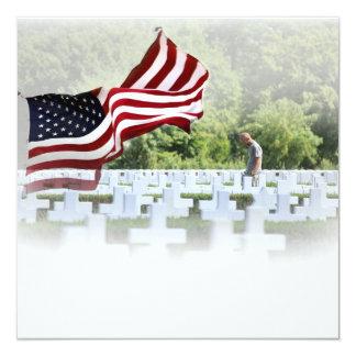 """Never Forgotten - Memorial Day 5.25"""" Square Invitation Card"""