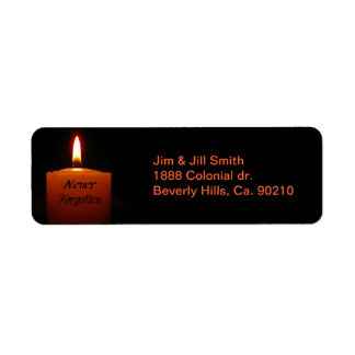 Never Forgotten Remembrance Candle Flame Label
