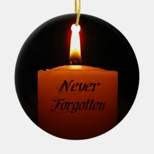 Full color printing company - Never Forgotten Remembrance Candle Flame Double Sided Ceramic Round