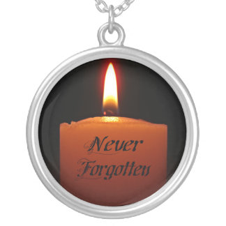 Never Forgotten Remembrance Candle Flame Silver Plated Necklace