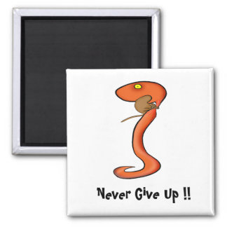 Never Give Up 2 Inch Square Magnet