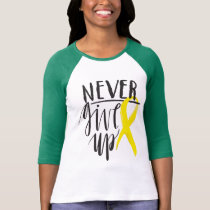 NEVER GIVE UP Bella Canvas 3/4 Sleeve  T-Shirt