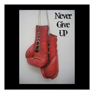 Never Give Up- Boxing Gloves CANVAS Poster