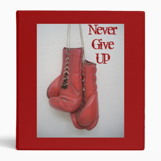 Never Give Up, Boxing Gloves Inspirational Binder