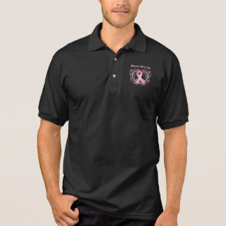 Never Give Up Breast Cancer Awareness Ribbon Polo T-shirt