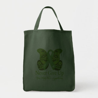 Never Give Up - Butterfly Non-Hodgkin's Lymphoma Grocery Tote Bag