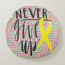 "NEVER GIVE UP Cotton Round Throw Pillow (16"")"
