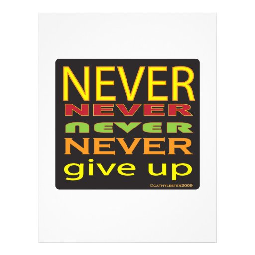 never give up custom flyer