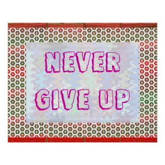 NEVER GIVE UP  -  Decorative Wisdom Words Poster