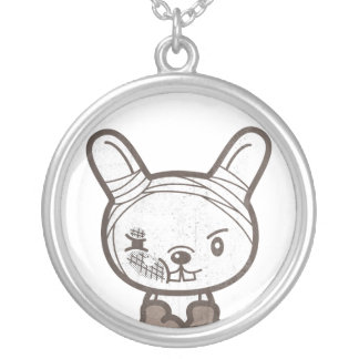 Never Give UP Fighting Rabbit Round Pendant Necklace
