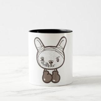 Never Give UP Fighting Rabbit Two-Tone Coffee Mug