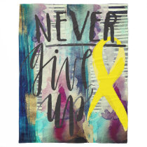 "NEVER GIVE UP Fleece Blanket, 60""x80"""