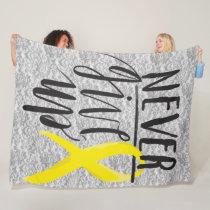 """NEVER GIVE UP Fleece Blanket, 60""""x80"""""""