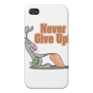 never give up funny bunny yanking carrot iPhone 4 cases