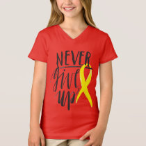 NEVER GIVE UP Girls' Fine Jersey V-Neck T-Shirt