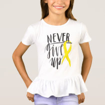 NEVER GIVE UP Girls' Ruffle T-Shirt