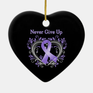 Never Give Up Heart Hodgkin's Lymphoma Ceramic Ornament