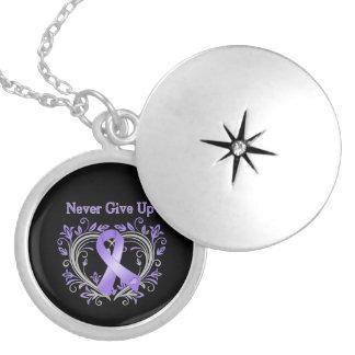 Never Give Up Heart Hodgkin's Lymphoma Custom Necklace