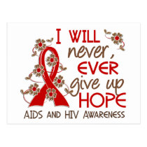 Never Give Up Hope 4 AIDS Postcard