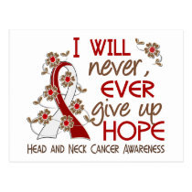 Never Give Up Hope 4 Head and Neck Cancer Postcard