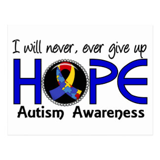 Never Give Up Hope 5 Autism Postcard